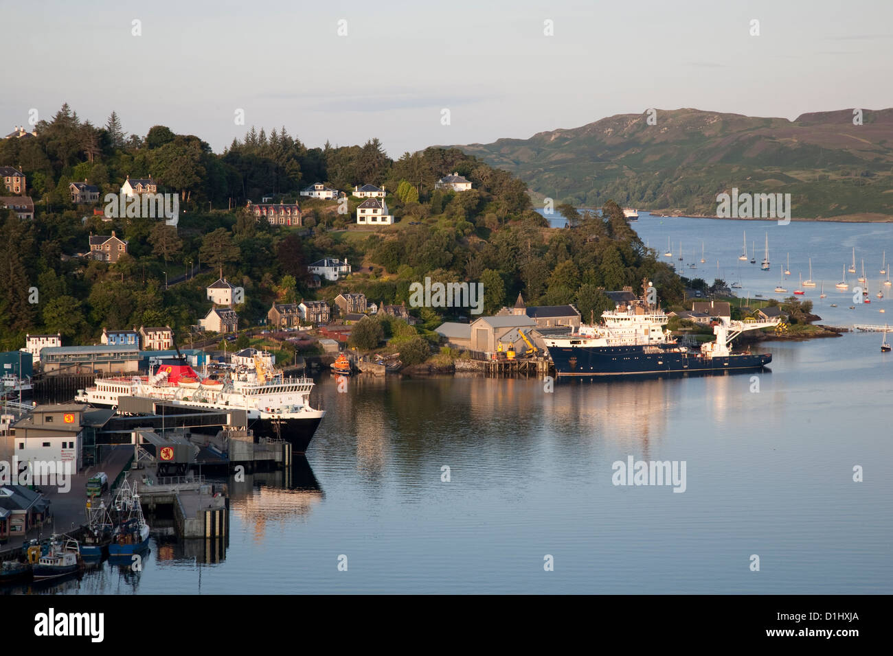 Boats in Oban Harbour, Scotland - Stock Image