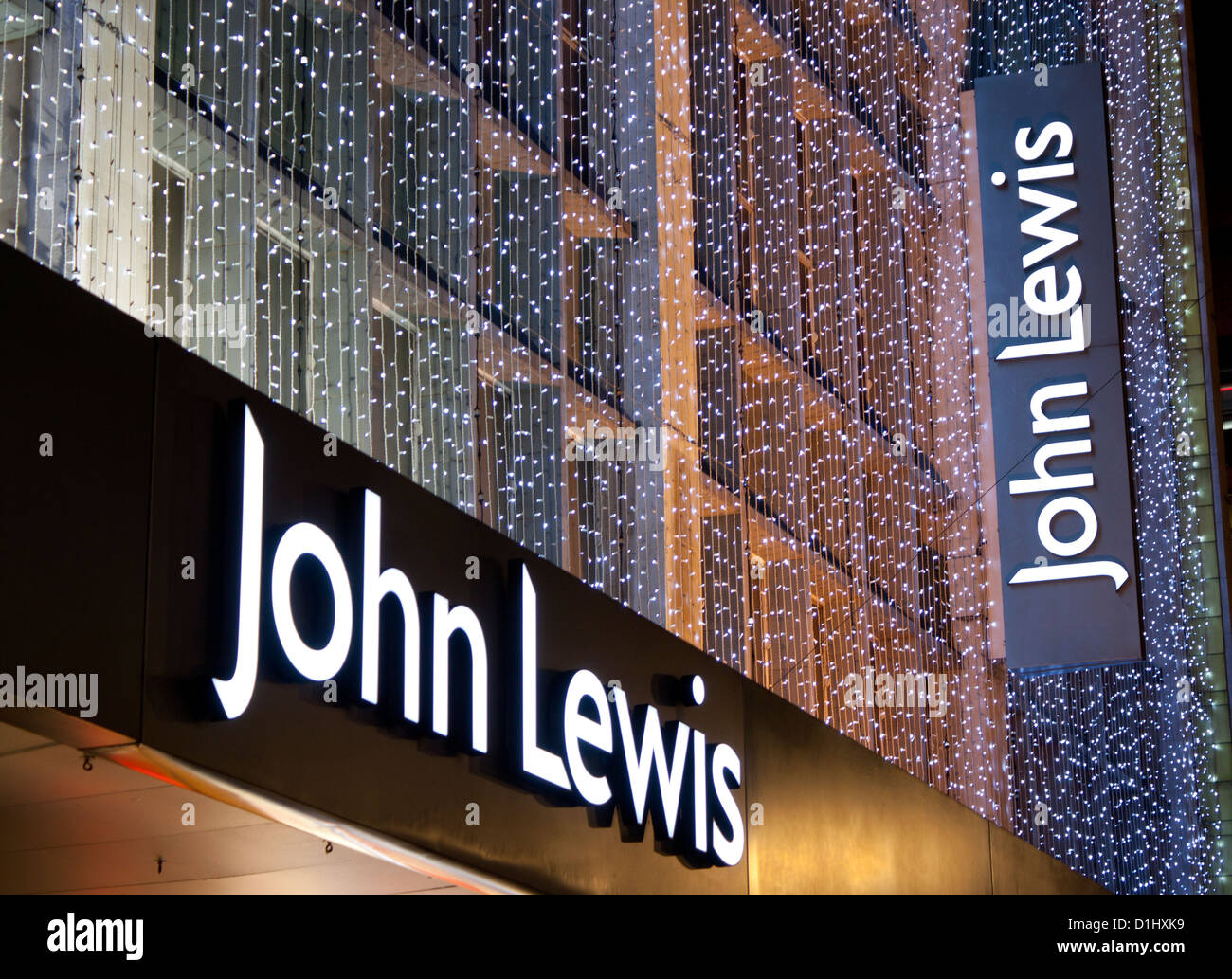 John Lewis Department Store Signs With Christmas Lighting Decorations At Night Twilight Dusk Oxford Street London England