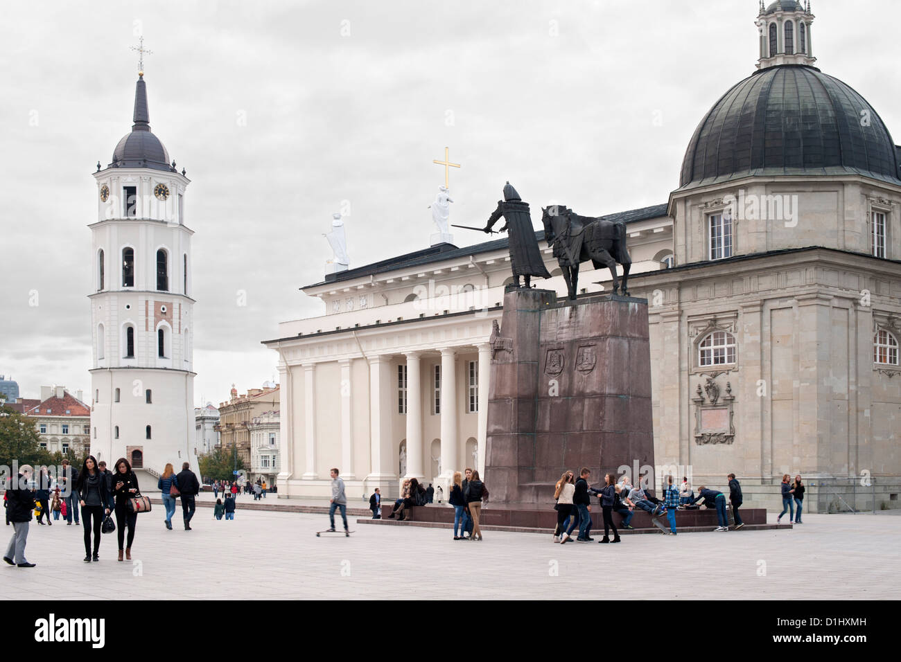 Cathedral Square with Vilnius Cathedral and its bell tower in Vilnius, the capital of Lithuania. - Stock Image