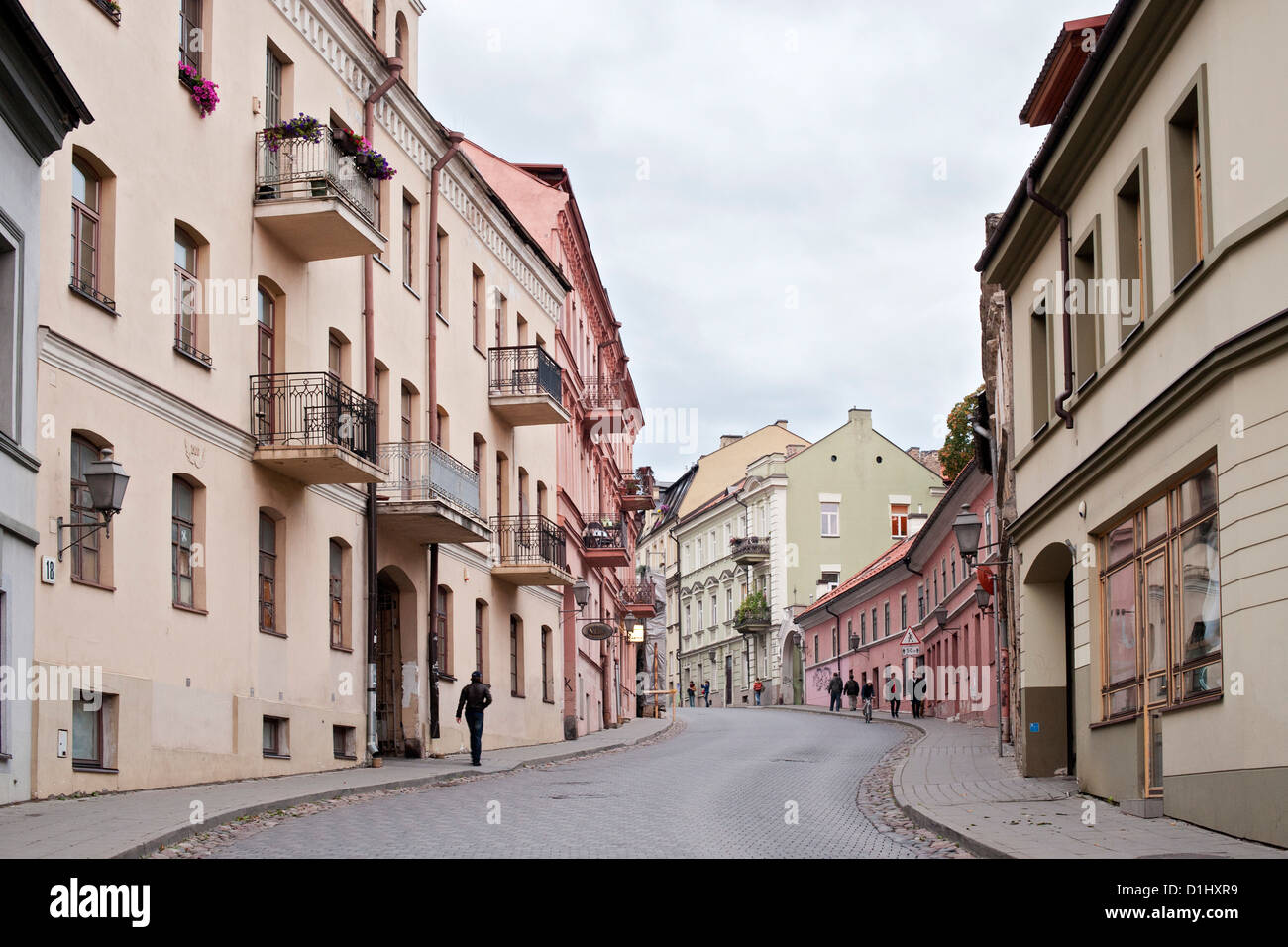 Uzupio street in the Uzupis district in Vilnius, the capital of Lithuania. - Stock Image