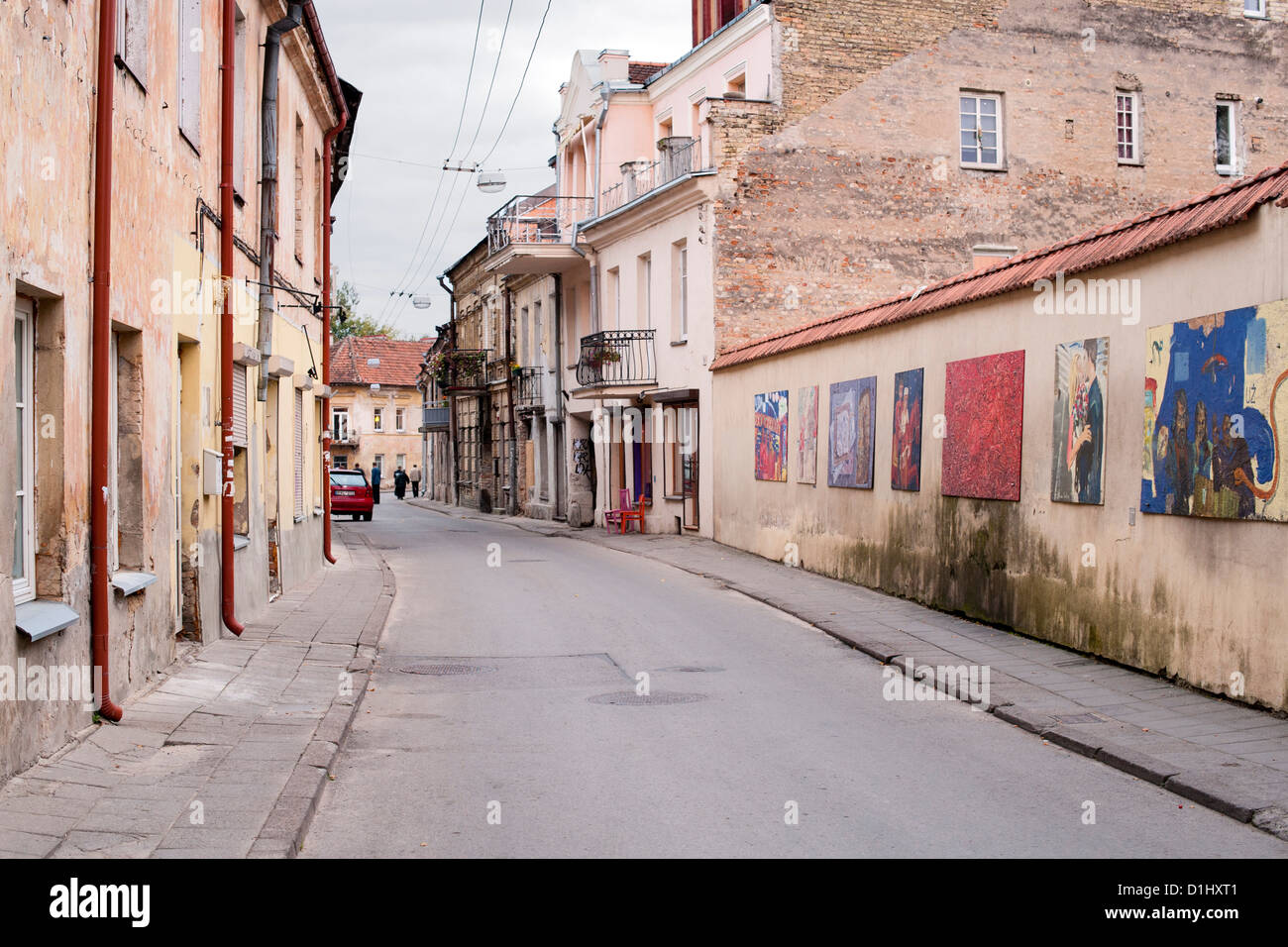 Paupio street in the Uzupis district of Vilnius, the capital of Lithuania. - Stock Image