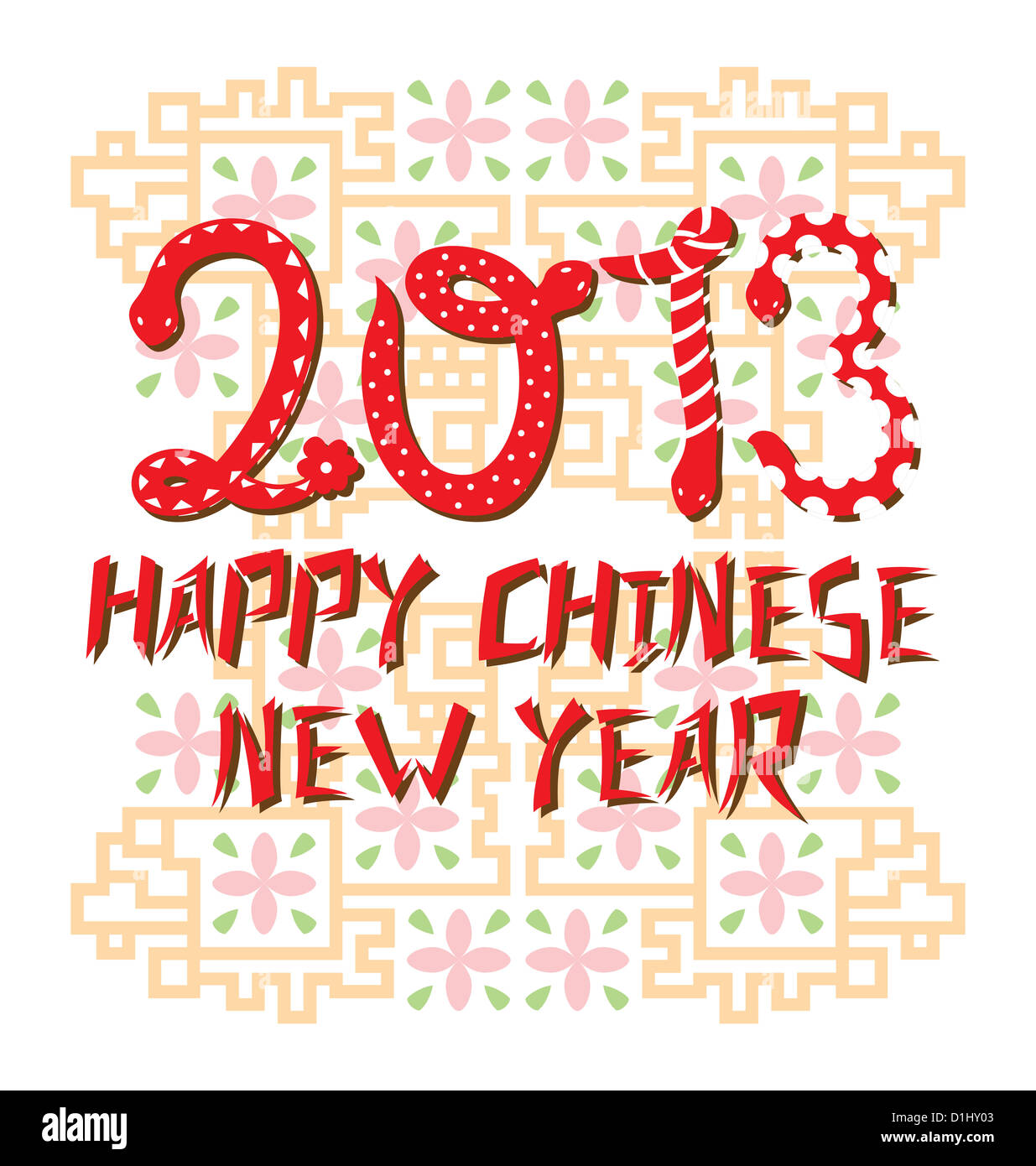 Typography design of snakes creating the number 2013 to celebrate the Chinese Snake Year with traditional Chinese - Stock Image