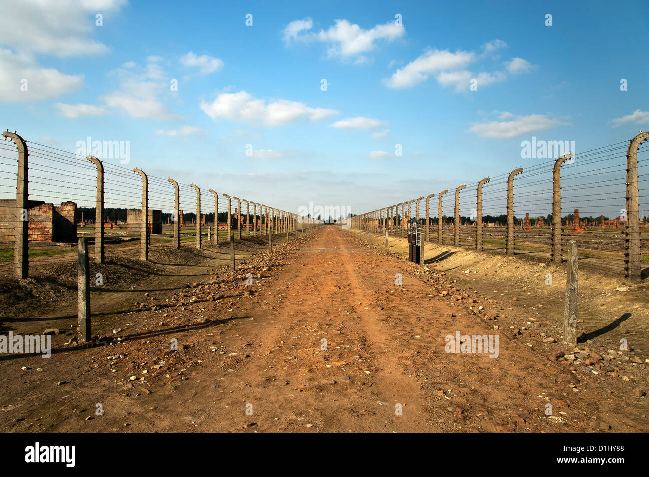 View across the former Auschwitz II–Birkenau concentration camp in southern Poland. - Stock Image