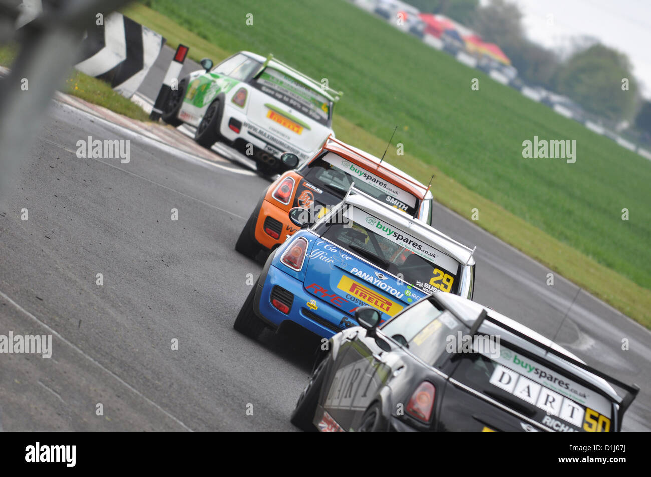 Mini coopers at Castle Combe Circuit - Stock Image