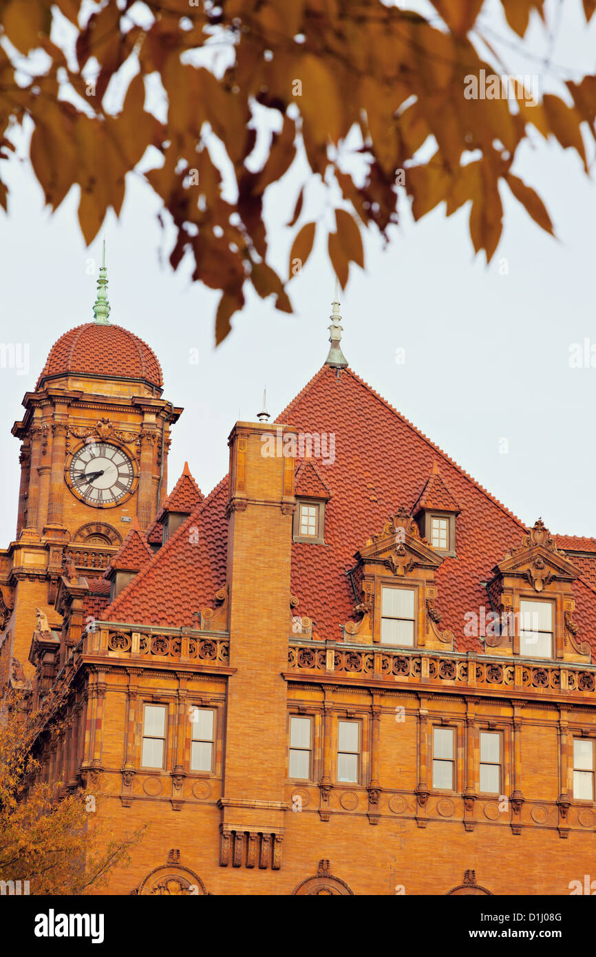 Old Main Street Train Station Clock Tower - Stock Image