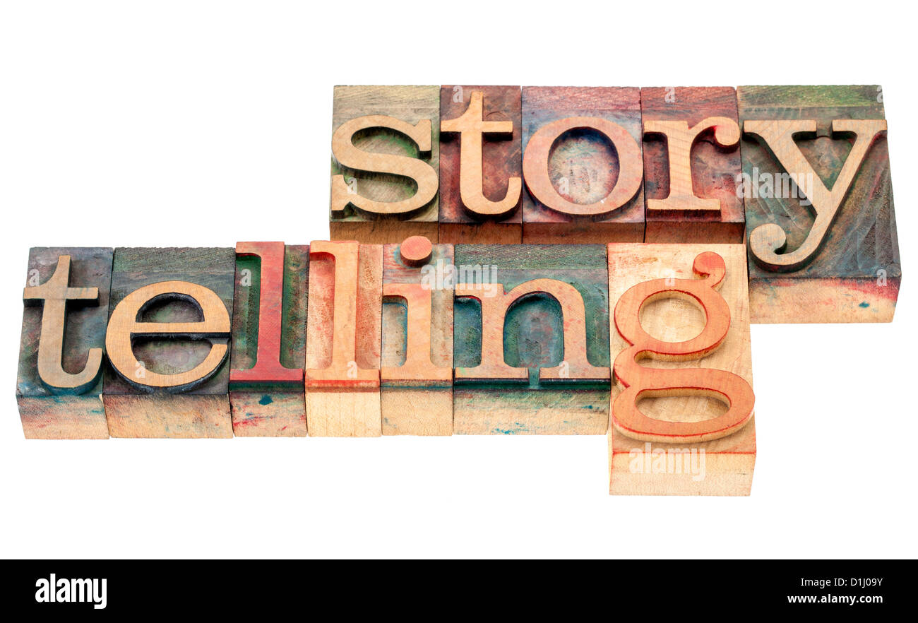 storytelling - isolated word in vintage letterpress wood type printing blocks - Stock Image