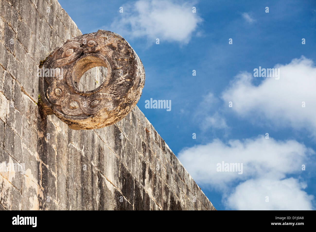 Carved stone hoop on the Great Ball Court, Chichen Itza, Yucatan Peninsula, Quintana Roo, Mexico - Stock Image