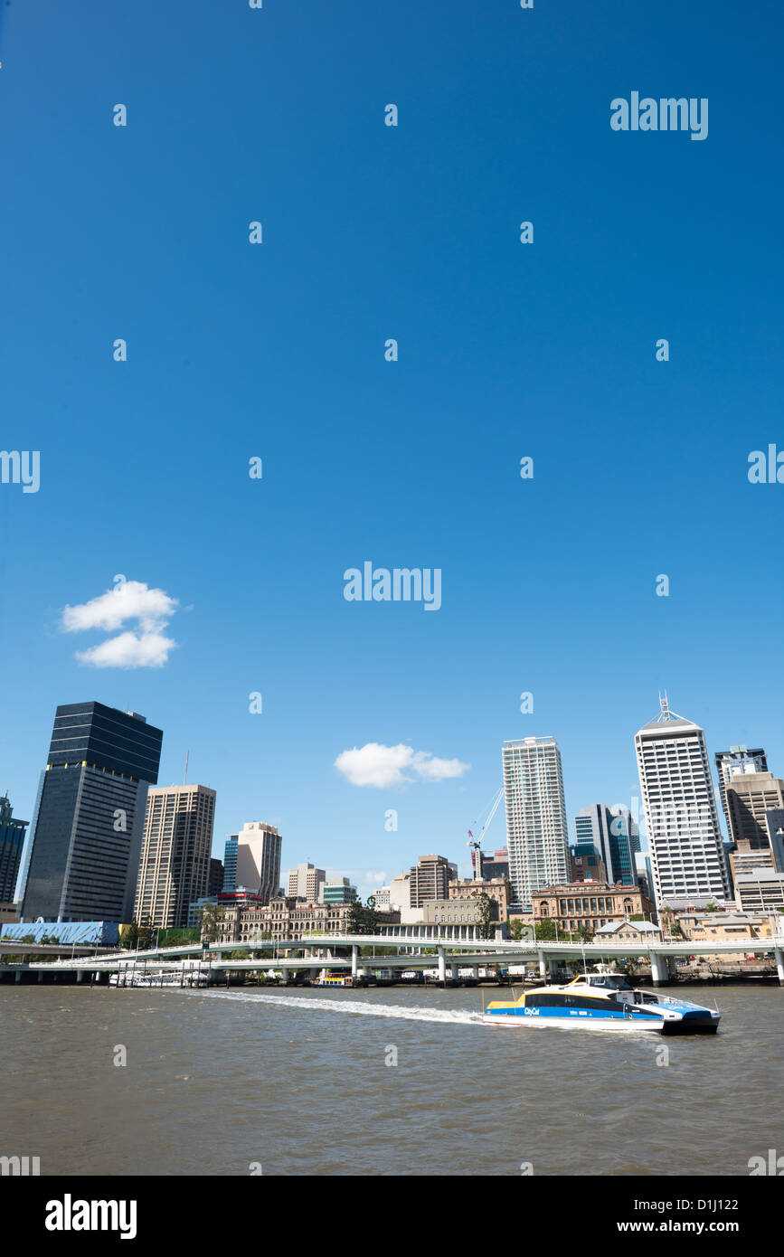 Brisbane city skyline from across the Brisbane River at South Bank on a clear sunny summer's day. - Stock Image