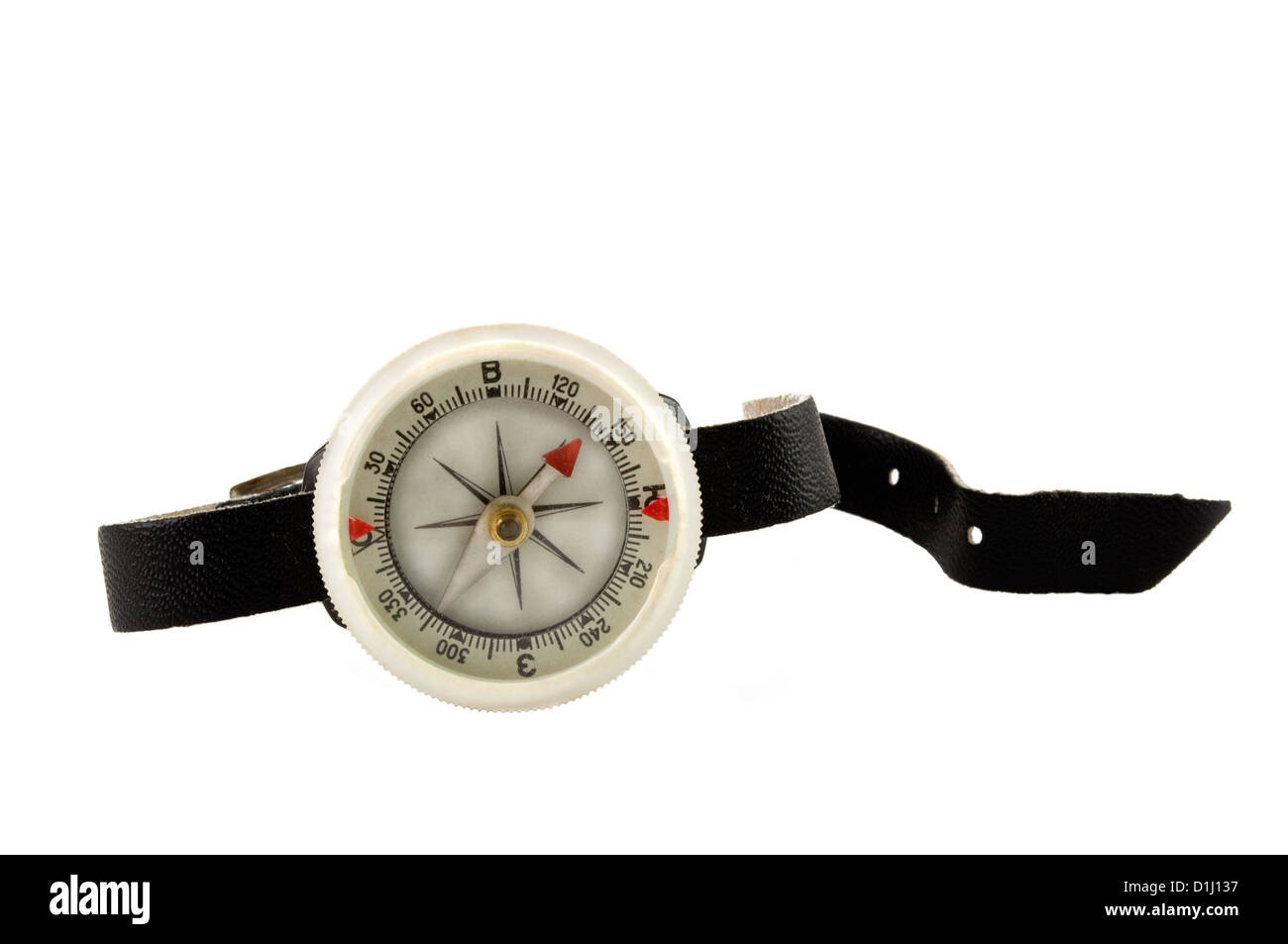 plastic compass with black band on white background - Stock Image