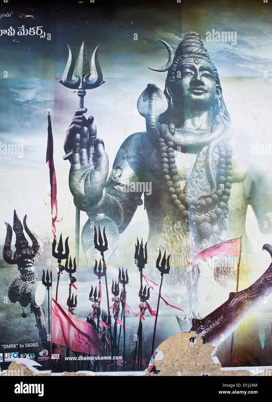 Lord Shiva . Indian movie poster.  Andhra Pradesh, India - Stock Image