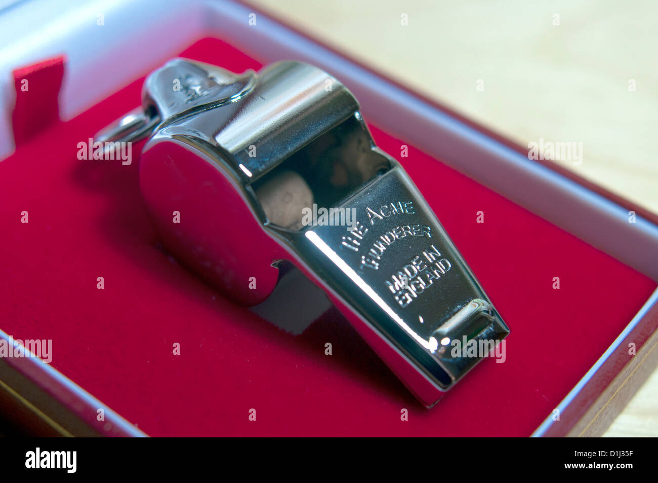Referees metal whistle The Acme Thunderer - Stock Image
