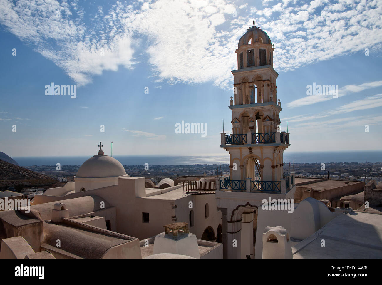 Tower of the Church on background blue sky - Stock Image