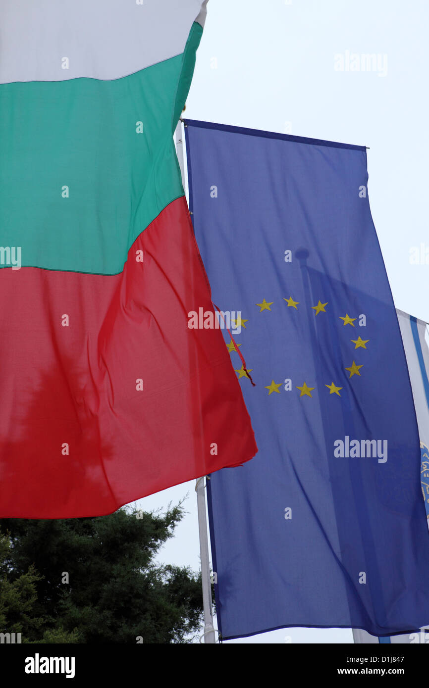 Bulgarian and European Union flags fly in Varna, Bulgaria. - Stock Image