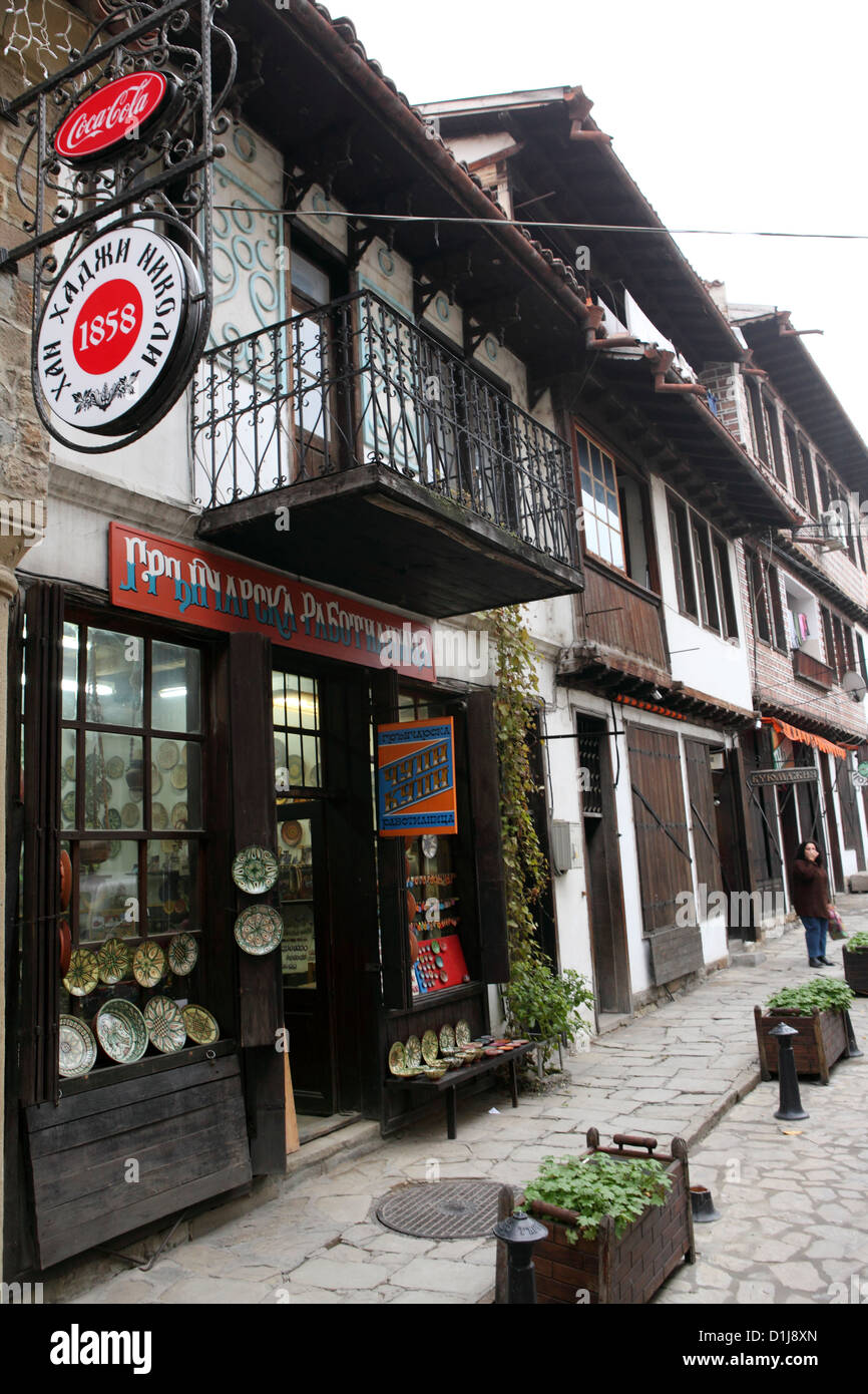 Traditionally built shops in the Old Town of Veliko Tarnovo, Bulgaria. Stock Photo