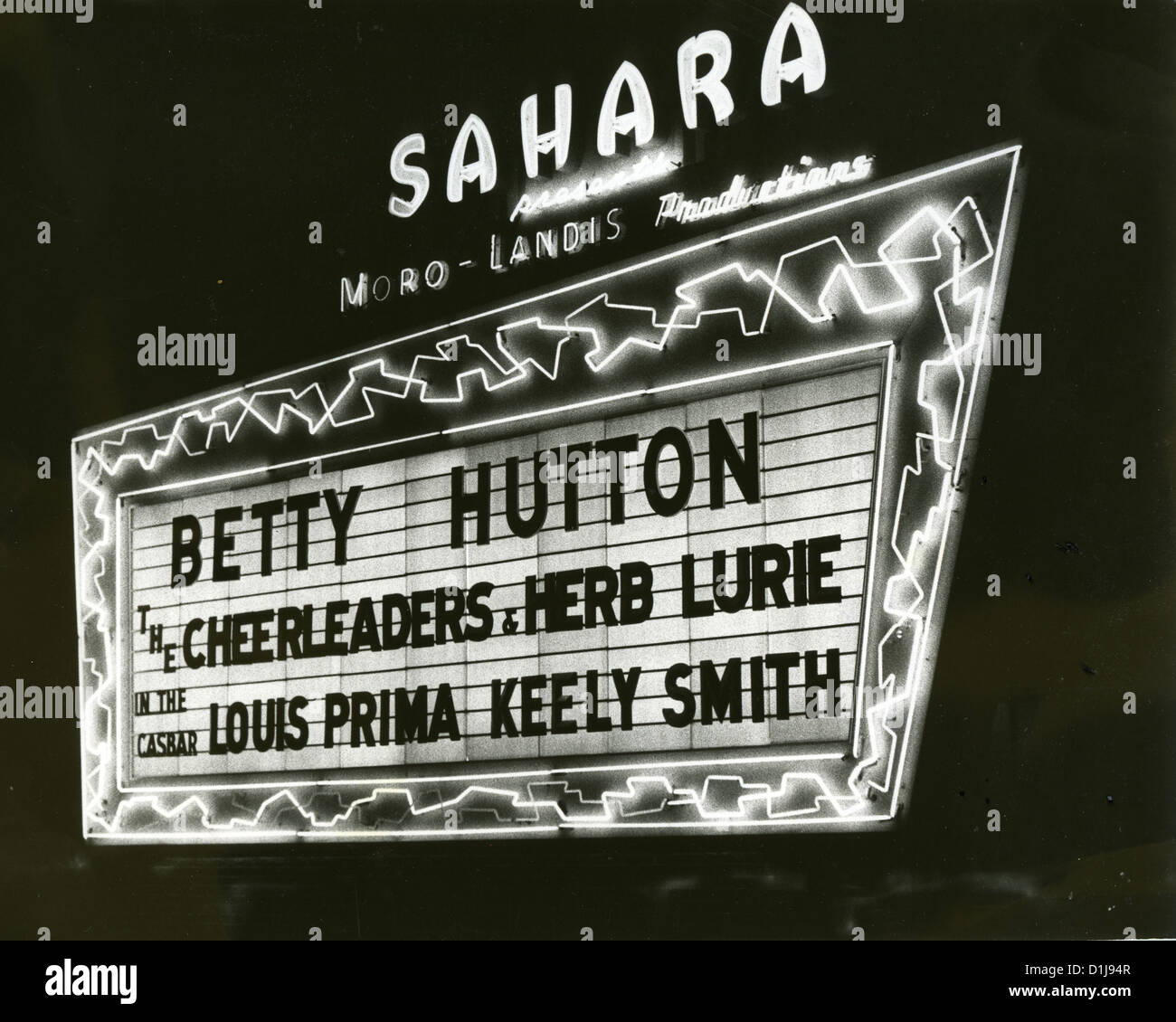 BETTY HUTTON (1921-2007) US stage, film and TV actress and singer appearing at the Sahara, Las Vegas in 1956 - Stock Image