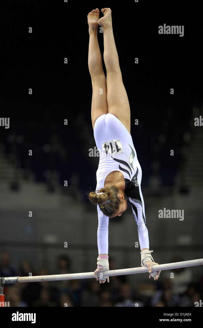 dcb39ad36a88 A female gymnast performs on the uneven bars during the British Gymnastics  Championships at the Echo Arena Liverpool. Phot