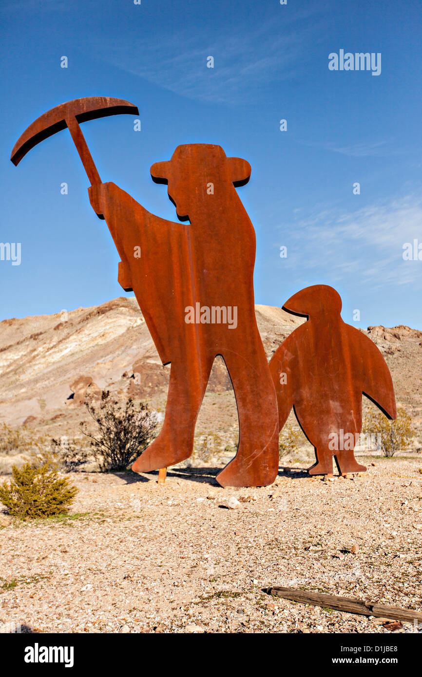 Public sculpture called Tribute to Shorty Harris 1994 in Goldwell, NV. - Stock Image