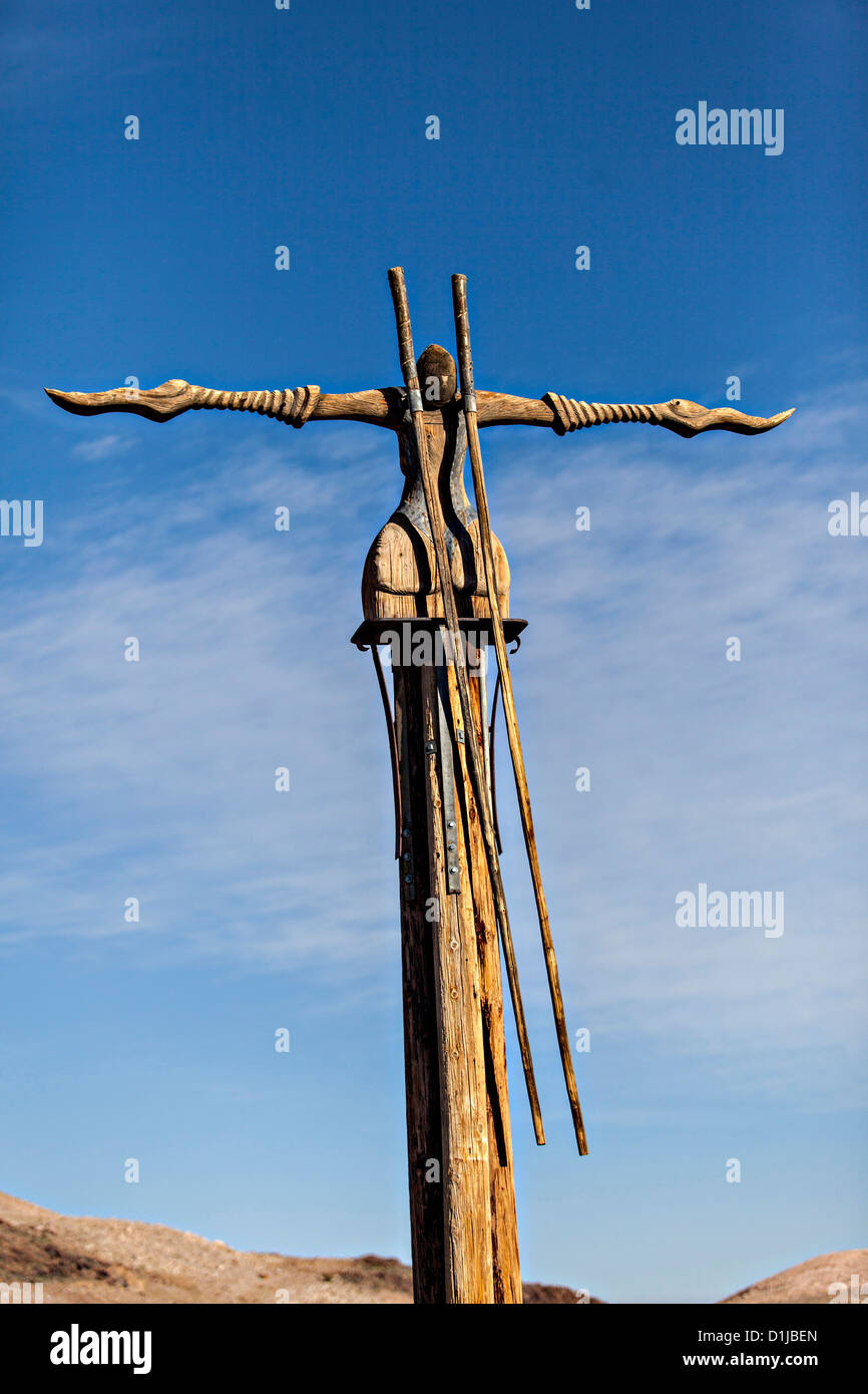 Public sculpture called Icara at the open air museum in Goldwell, NV. - Stock Image