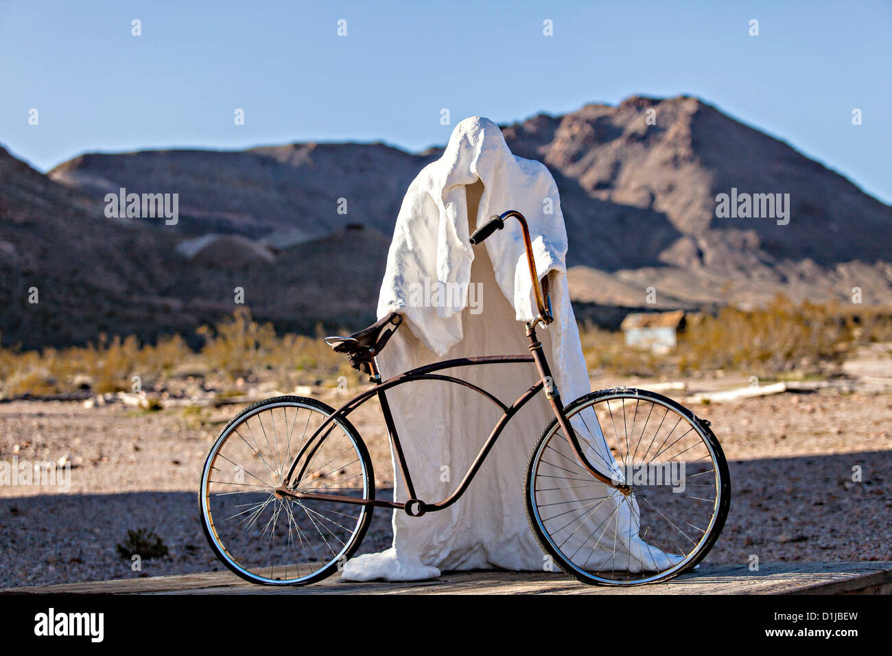 Public sculpture called Ghost Rider at the open air museum in Goldwell, NV. - Stock Image