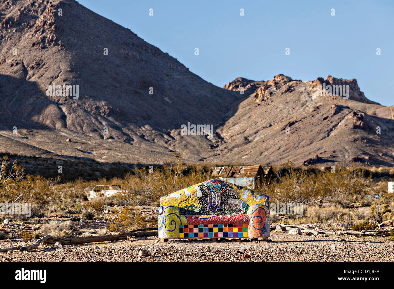 Public sculpture called Sit Here! at the open air museum in Goldwell, NV. - Stock Image