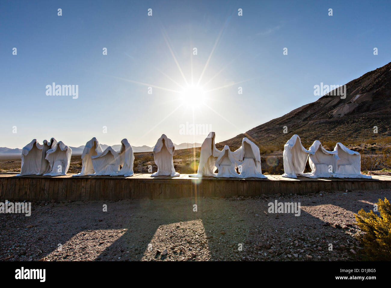 Public sculpture called The Last Supper at the open air museum in Goldwell, NV. - Stock Image