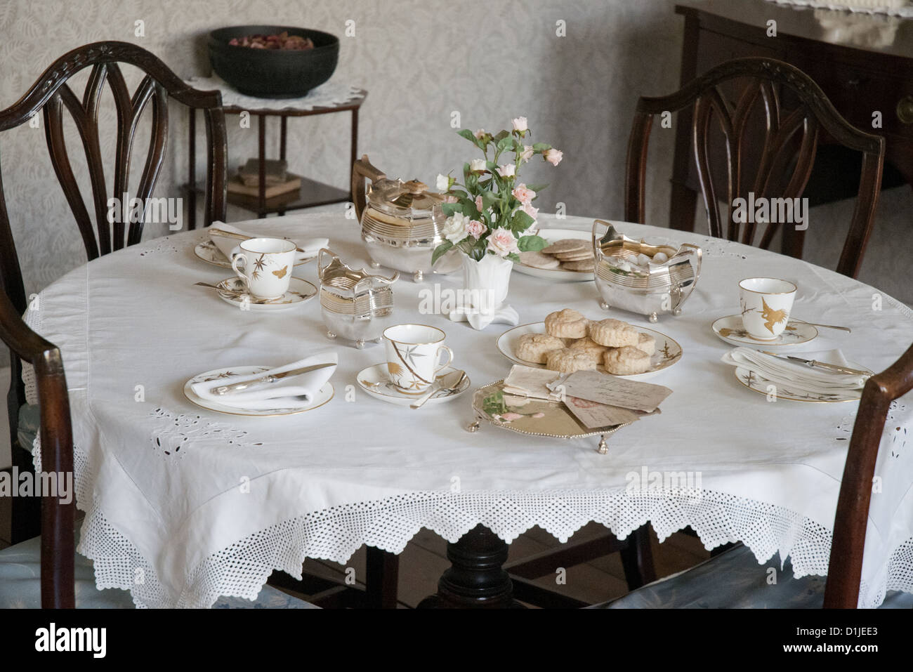 Dining room in the 18th-century Rosehill House, home of a Quaker family of ironmasters at Coalbrookdale in the Ironbridge - Stock Image