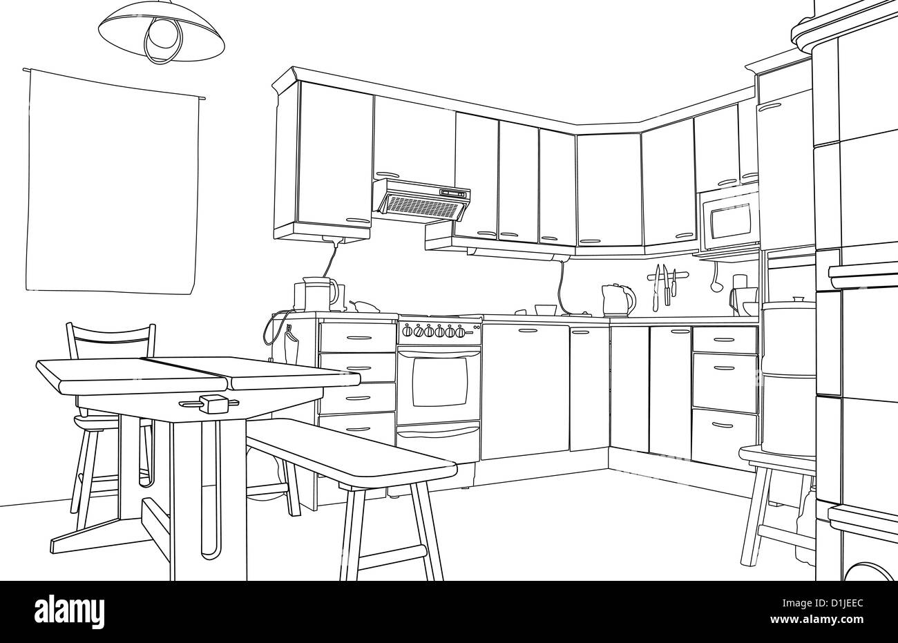 Illustration Of An Outline Sketch Of A Kitchen Interior Stock Photo