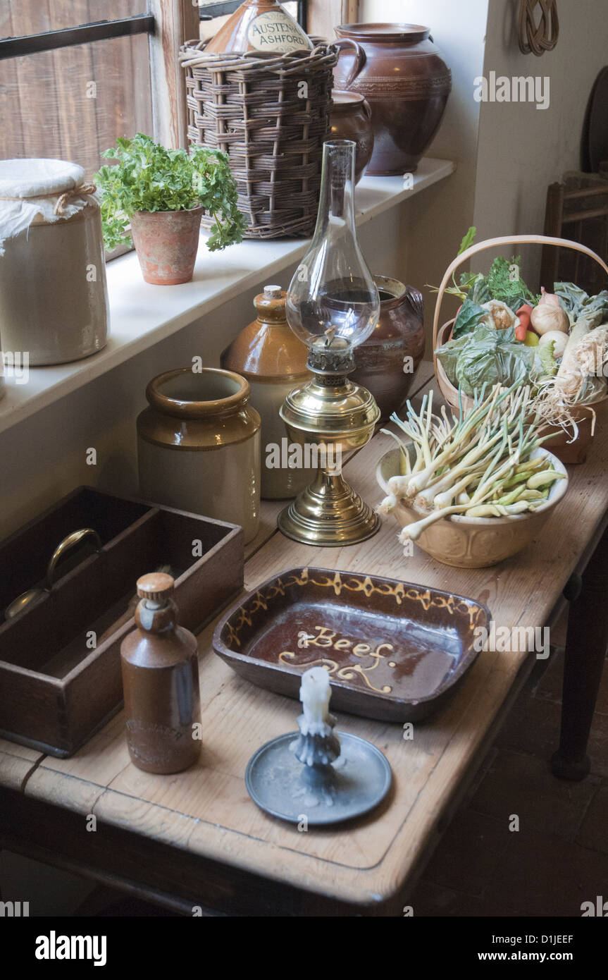 Kitchen table in Rosehill House, home of a Quaker family of ironmasters at Coalbrookdale in the Ironbridge Gorge - Stock Image