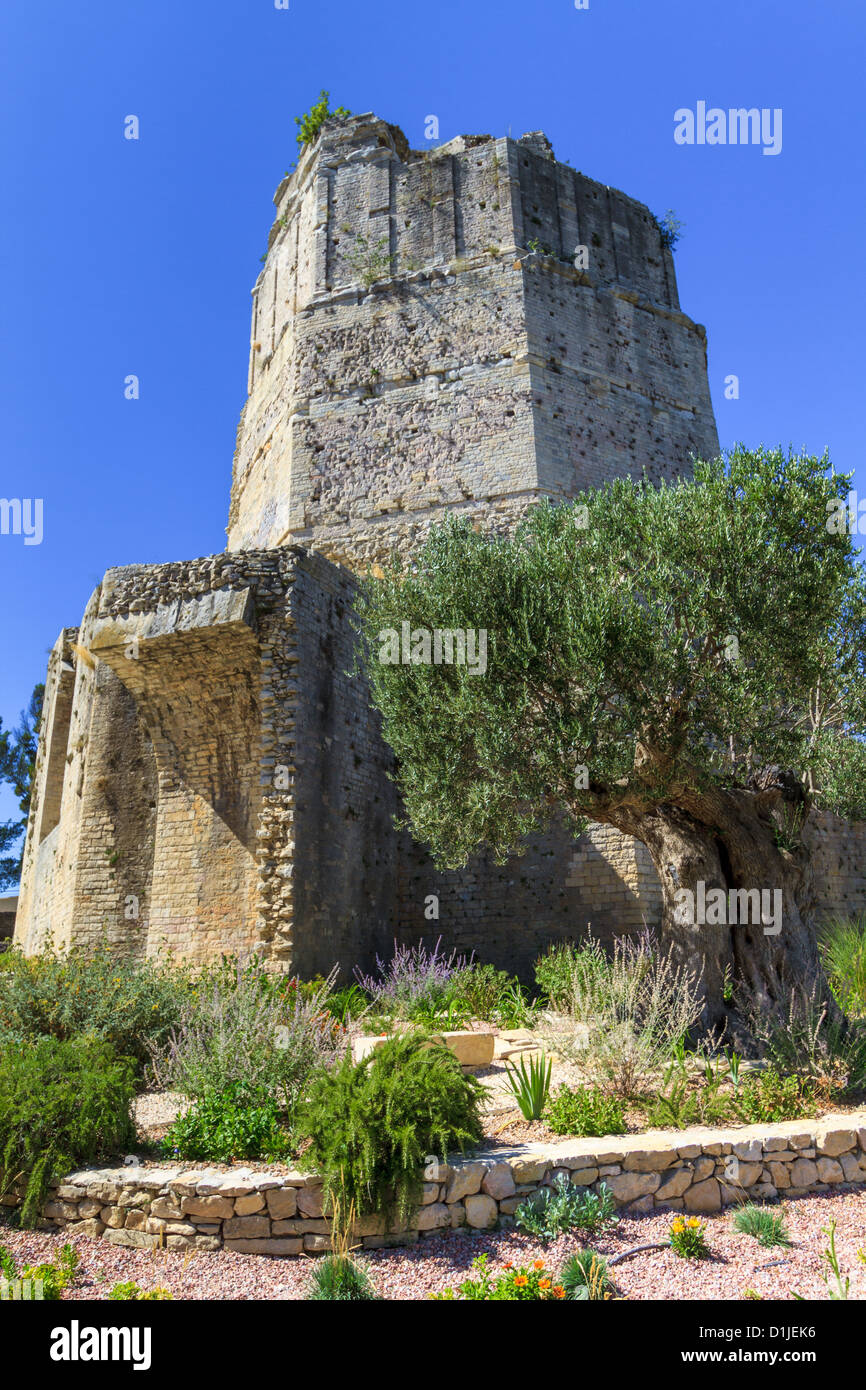 Remains of Roman tower in Nimes, Provence, France - Stock Image