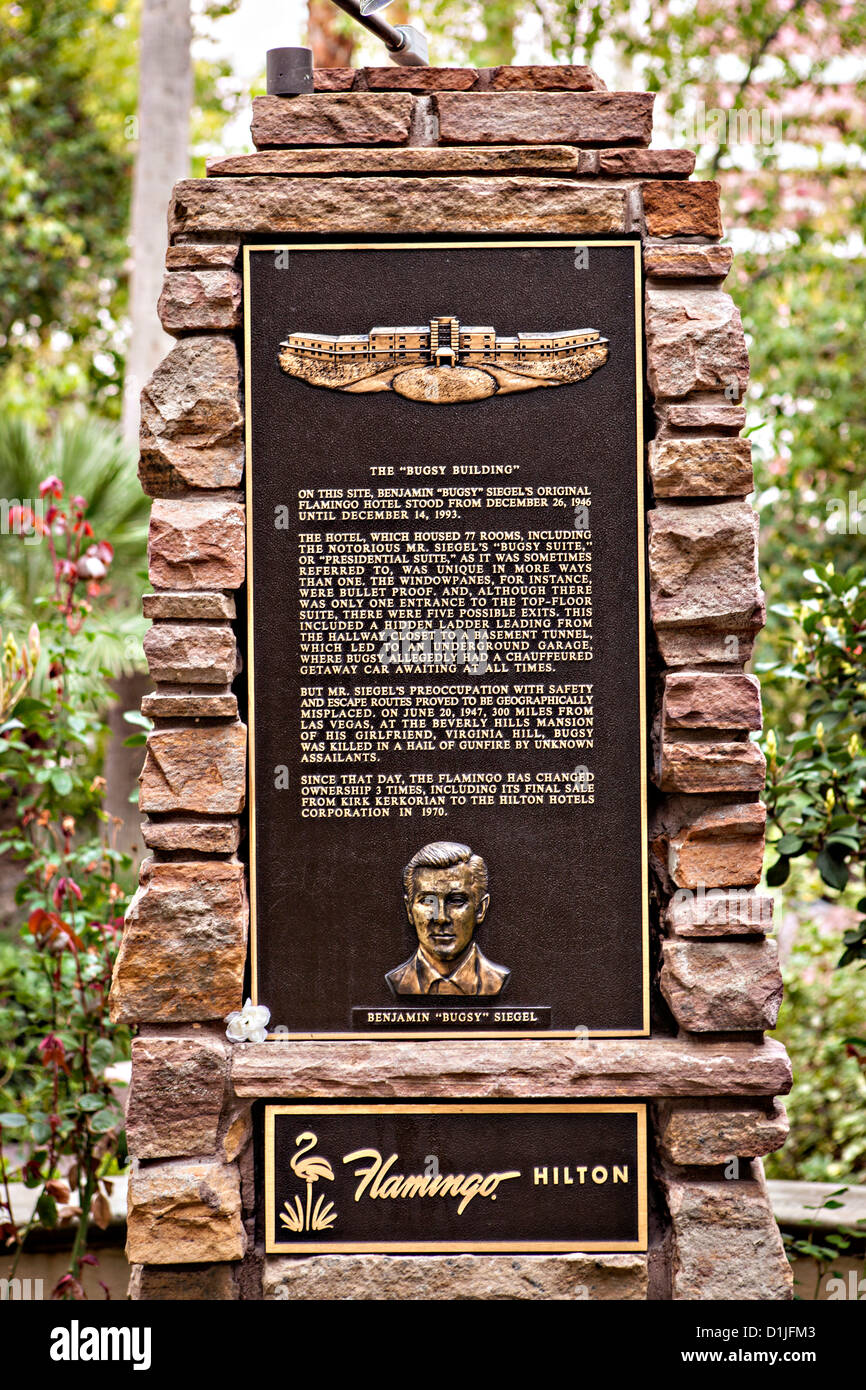 Memorial to mobster Bugsy Siegel at the Flamingo Hotel & Casino in Las Vegas, NV. - Stock Image