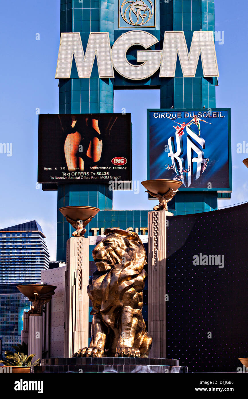 Exterior MGM Grand casino and resort in Las Vegas, NV. - Stock Image