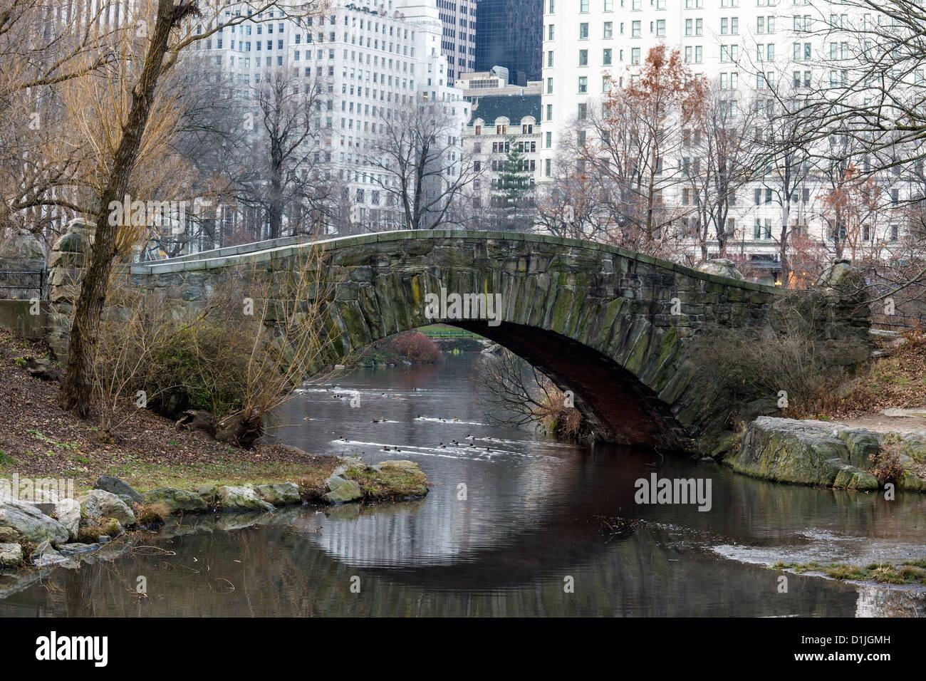 Central Park New York City Gapstow bridge - Stock Image