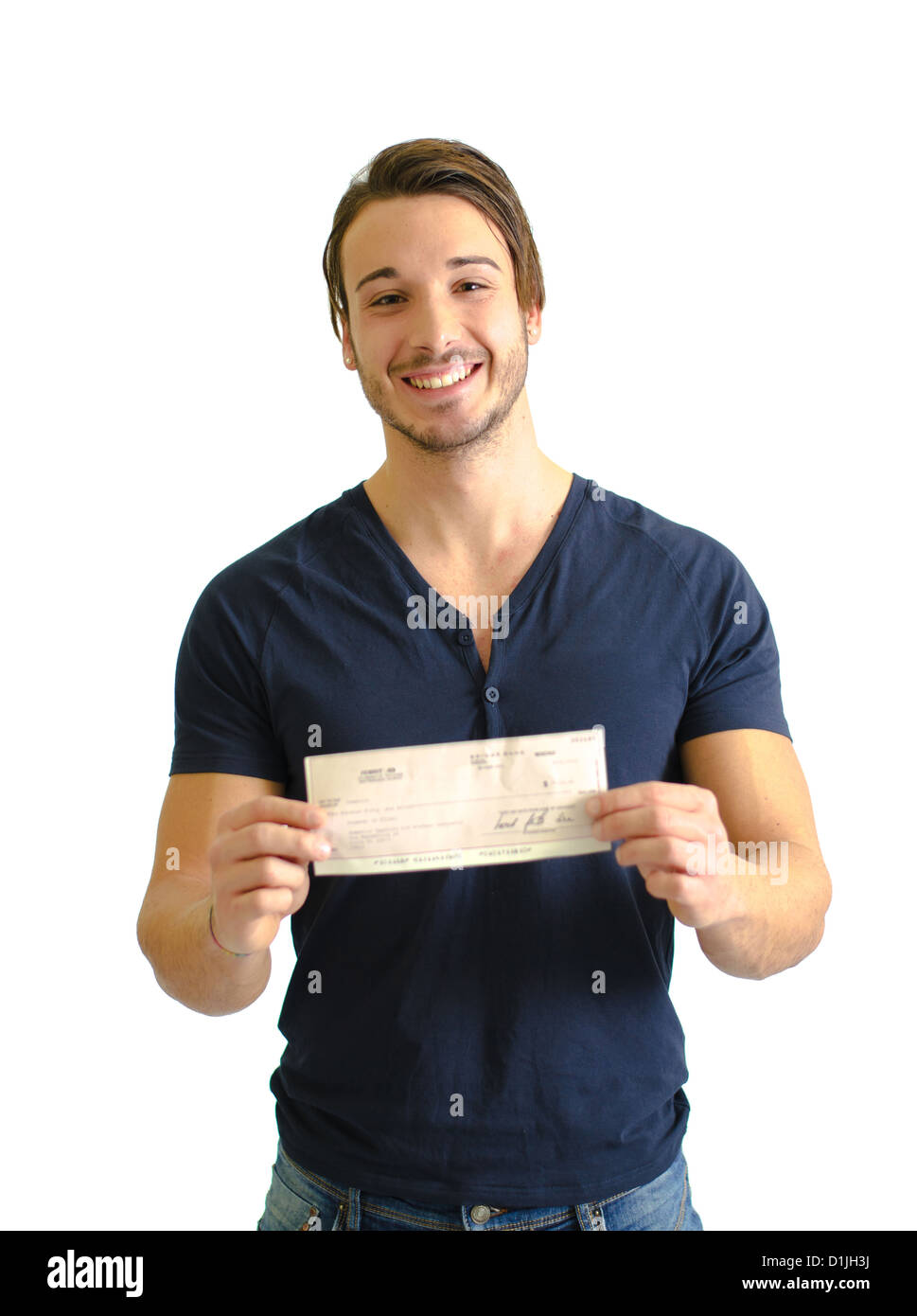 Happy, smiling young man with check (cheque) in hands, looking at camera - Stock Image