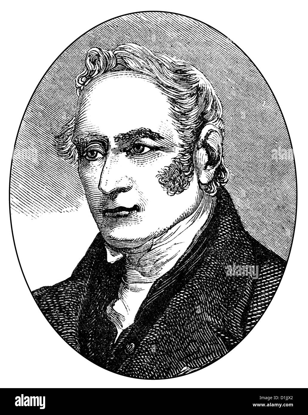 George Stephenson, 1781 - 1848, an English engineer and principal founder of the railroad industry, - Stock Image