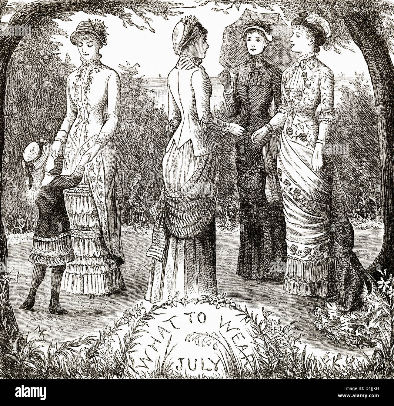 Historical drawing from England, 19th century, women's fashion around 1881, - Stock Image