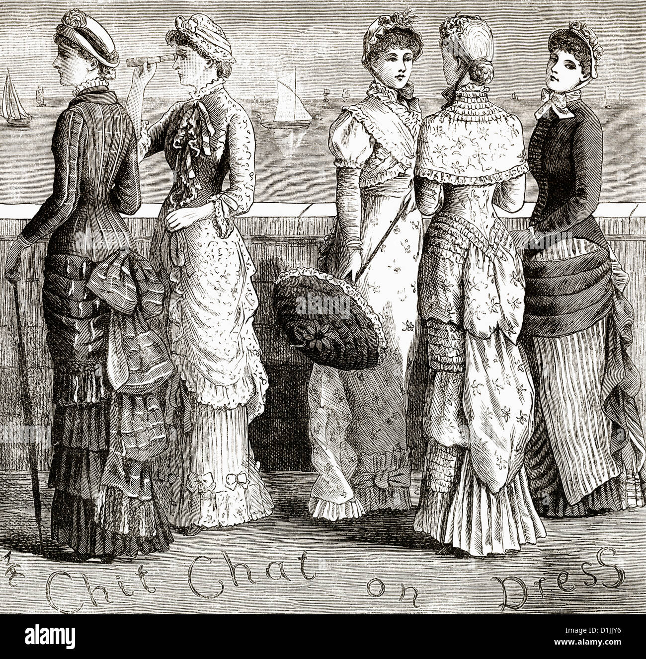 Historical Drawing From England 19th Century Womens Fashion Around 1881