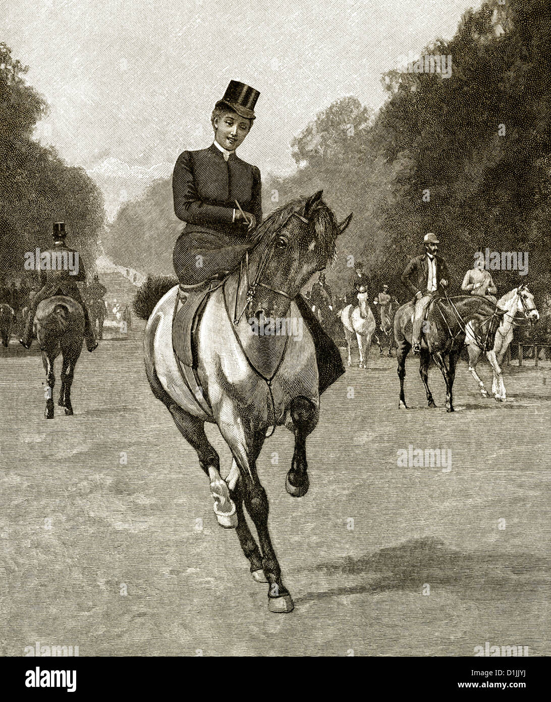 19th century, a young woman riding a horse on a side-saddle in an English park, around 1881 - Stock Image