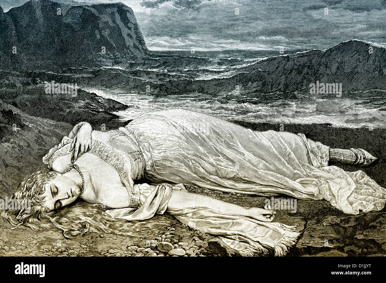 19th century, a young woman wearing a white dress lying on a beach, sleeping or dead, a romantic scene, around 1881 - Stock Image