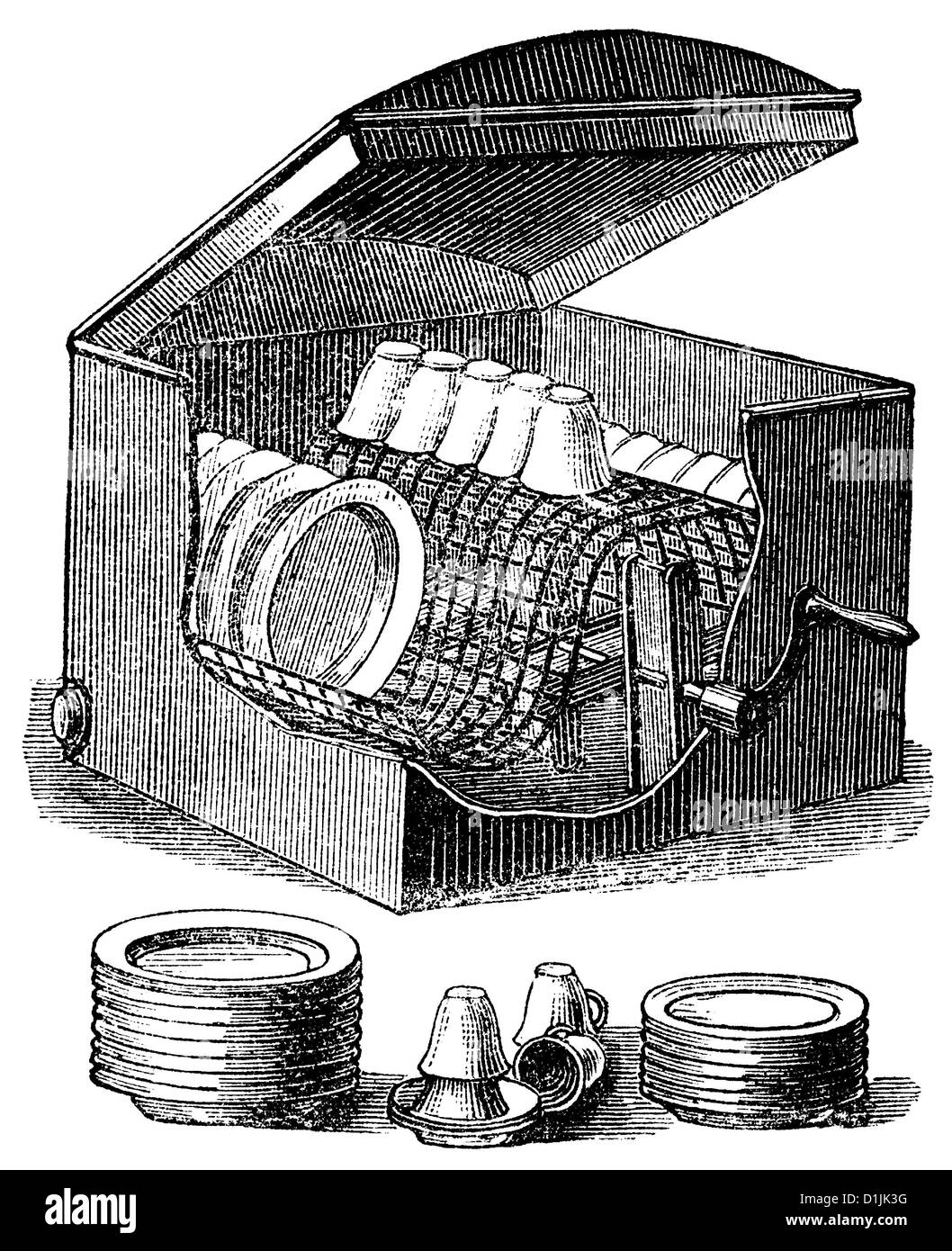 19th century, a mechanical dish washer driven by a hand crank, around 1880, - Stock Image