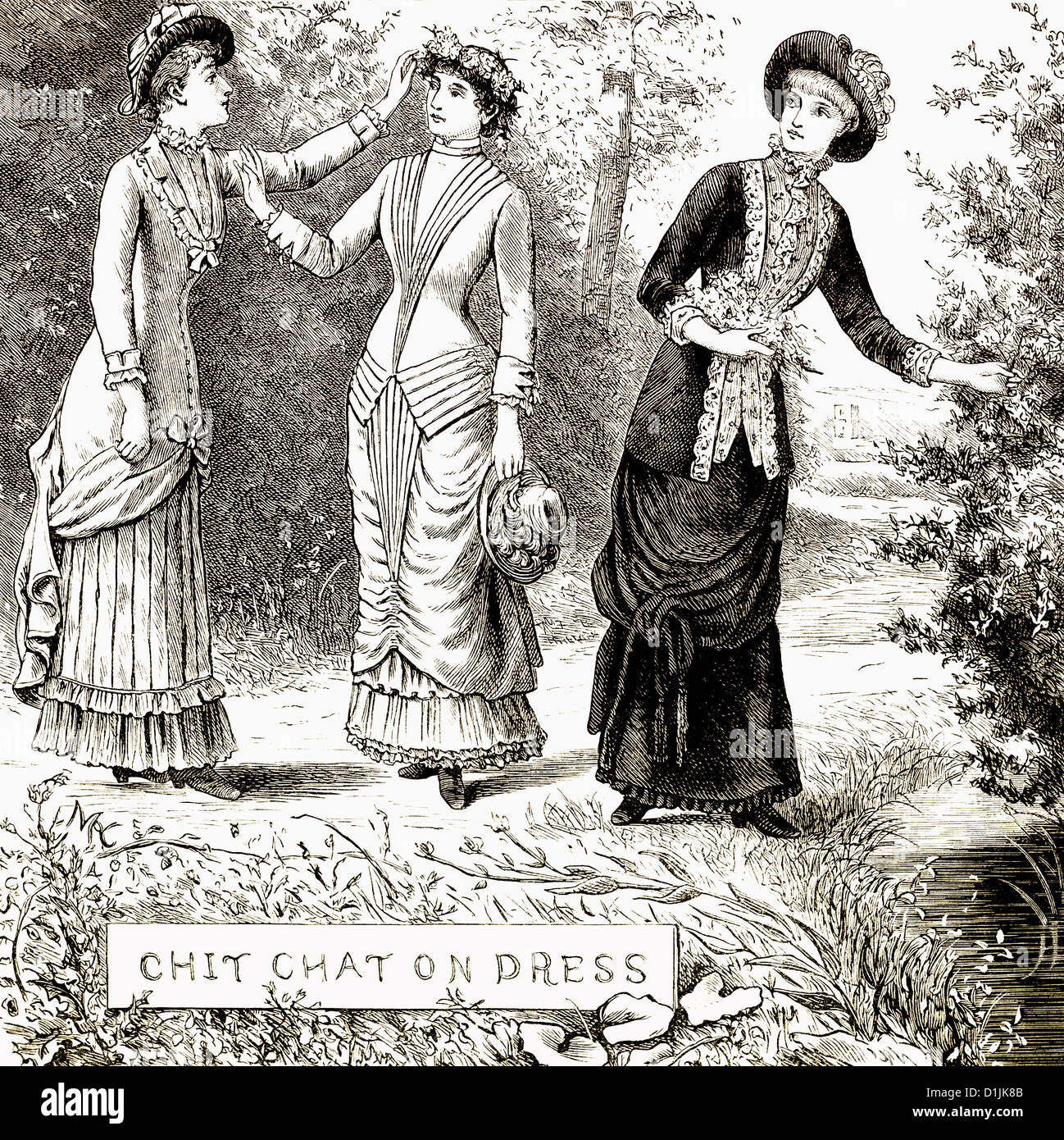 Historical drawing from England, 19th century, women's fashion around 1881 - Stock Image