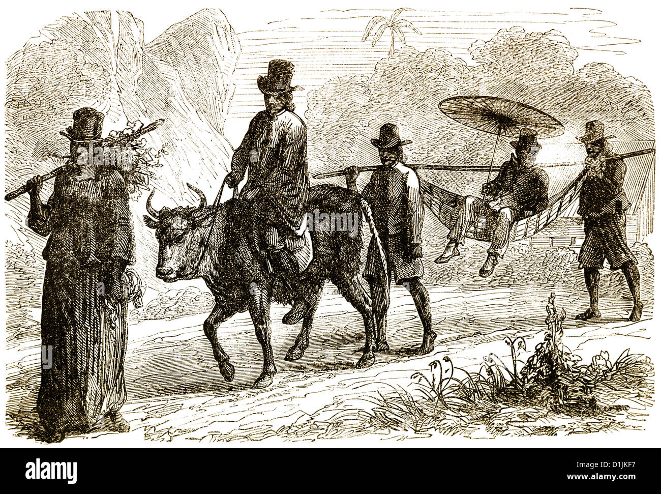 a sedan chair with sedan bearers for special people on Marianne Island, Seychelles, 18th century - Stock Image