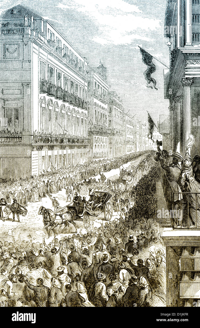 scene from the history of Italy, the triumphal entry of Giuseppe Garibaldi in Naples on 7th September 1860, Italy - Stock Image