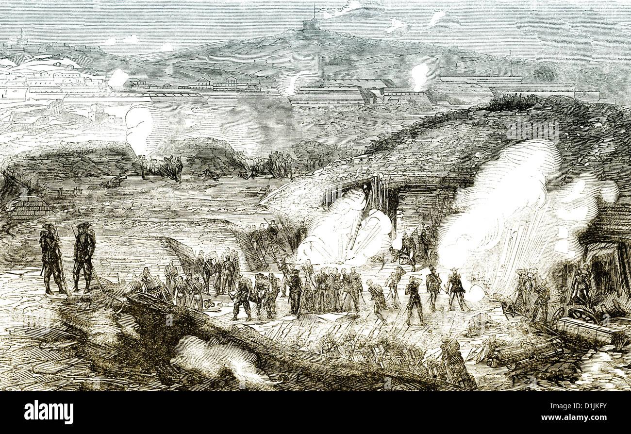 scene from the history of Italy, 1861, the Battle of Gaeta, Lazio, Italy, - Stock Image