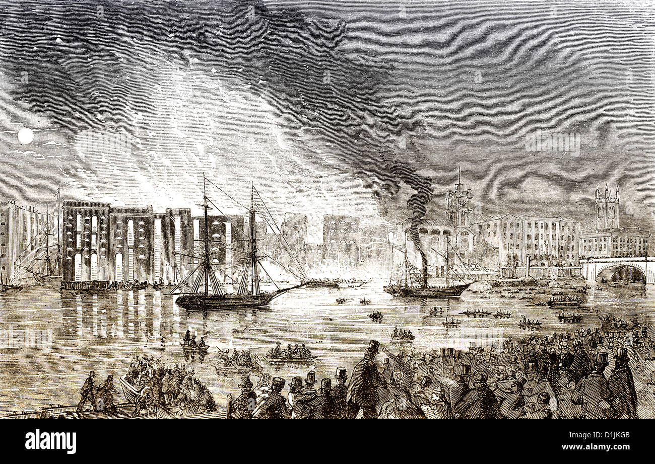 the large fire on Tooley Street, 1861, London, England, United Kingdom, - Stock Image
