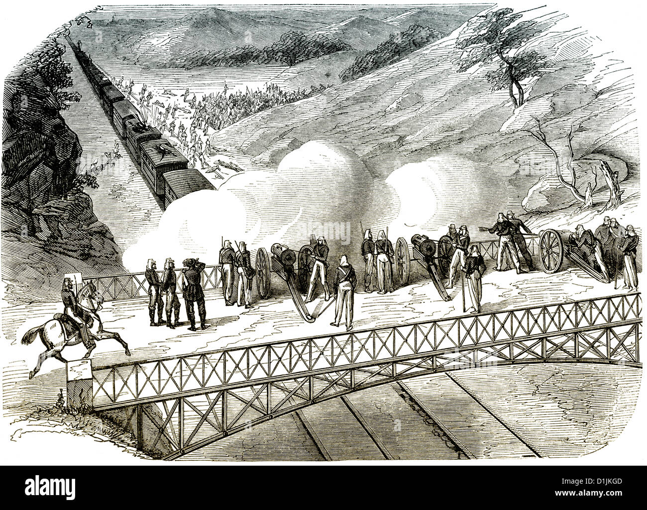 train being attacked during the American Civil War, 1861- 1865 - Stock Image