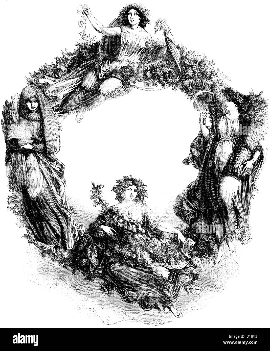 framing with allegorical images of the seasons, women or goddesses, around 1860 - Stock Image