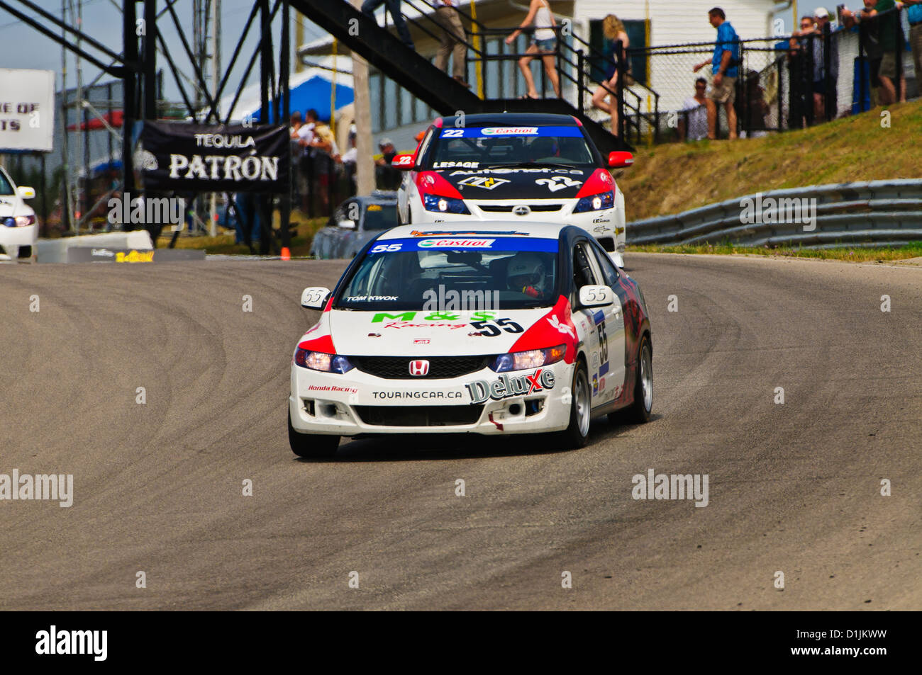 A Honda Civic competes in the  CTCC Canadian Touring Car Championship at the 2011 Mobile-1 Grand Prix Mosport Stock Photo