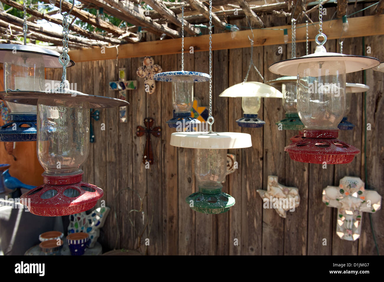 Hanging retro lamps for sale at The Old Chicken Farm Art Center, San Angelo, Texas, US - Stock Image