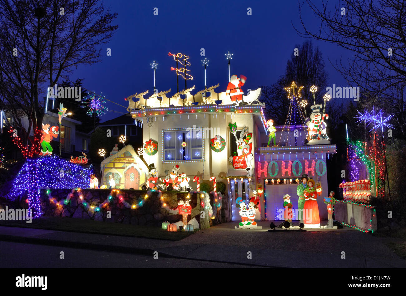 house lit up for annual christmas season victoria british columbia canada