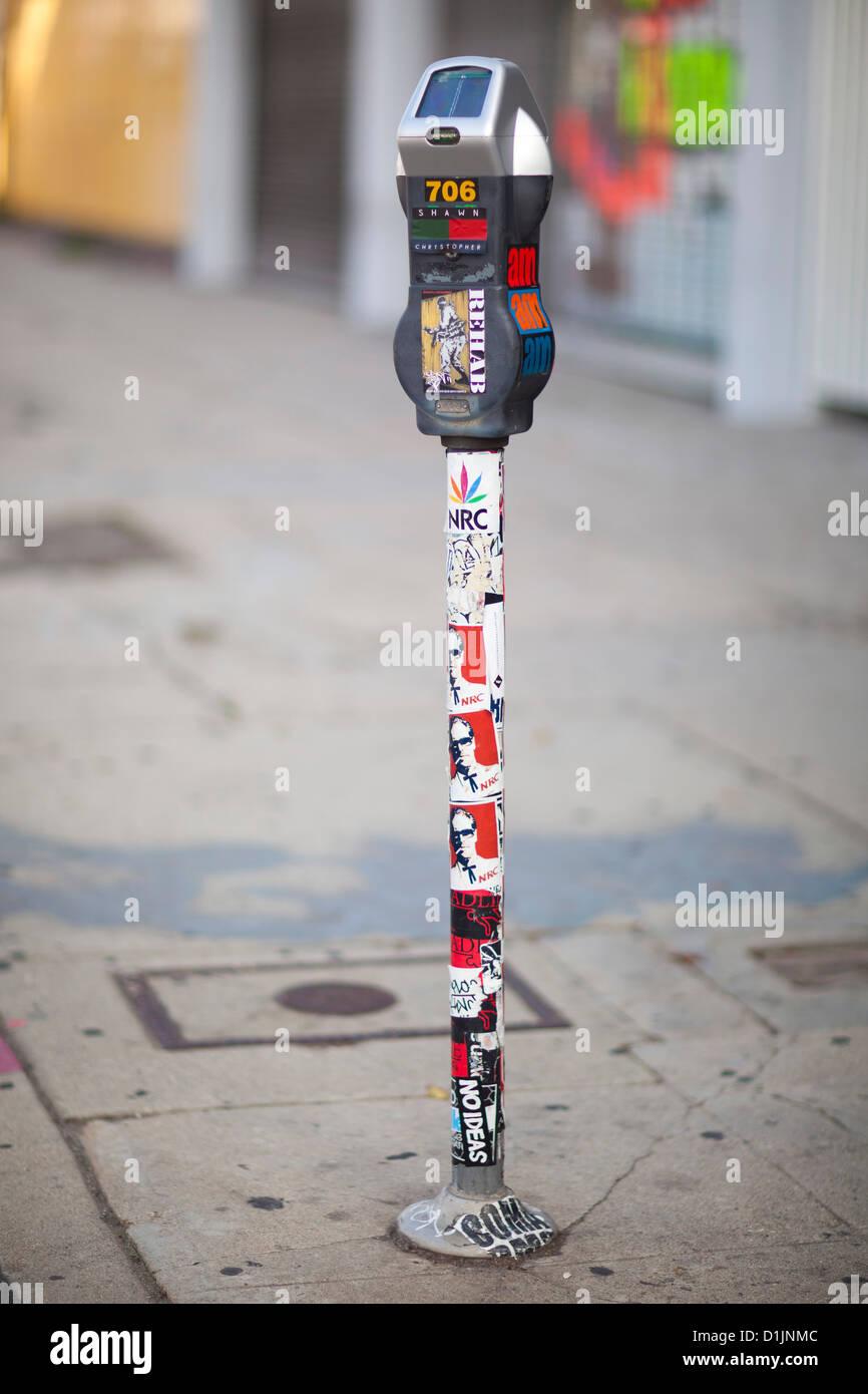 Street art on a parking meter. La Brea Blvd. Los Angeles, California, United States of America - Stock Image